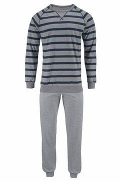 seidensticker pyjama lang met blokstrepen grijs