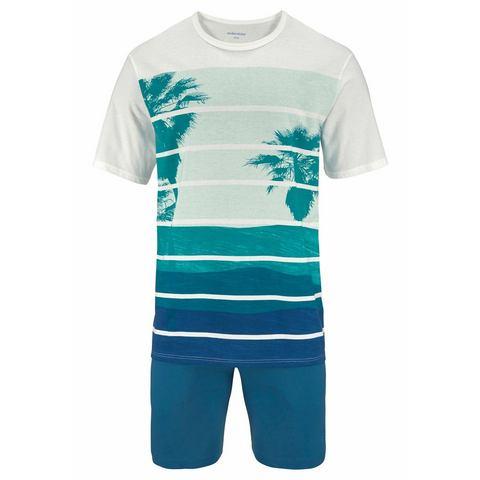 Seidensticker NU 15% KORTING: Seidensticker korte pyjama met palmenprint