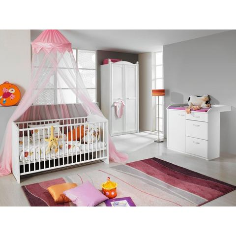Complete kinderkamer Amalfi ledikantje + commode + 2-deurs garderobekast, (3-dlg. set)