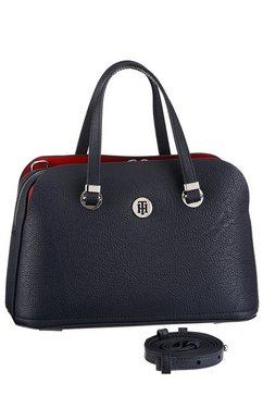 tommy hilfiger tas th core med satchel met zilverkleurige details blauw