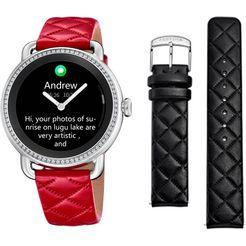 festina smartwatch smartime, f50000-3 (set, 3-delig, met zwarte verwisselbare band en oplaadbasis) rood