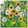 artland artprint gemengde zonnebloemen in vele afmetingen  productsoorten -artprint op linnen, poster, muursticker - wandfolie ook geschikt voor de badkamer (1 stuk) groen
