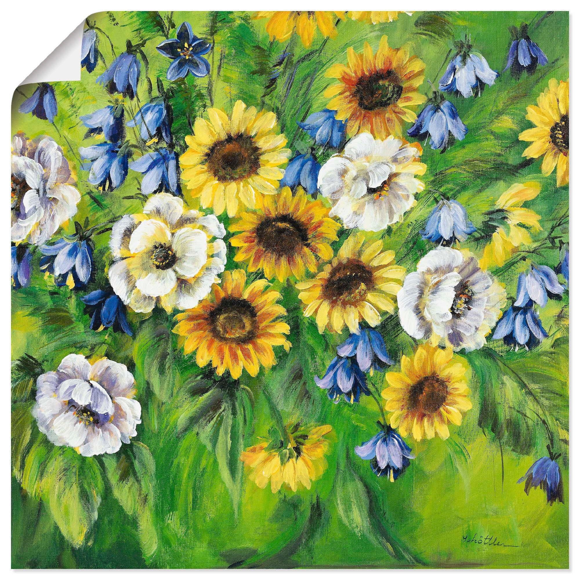 Artland artprint Gemengde zonnebloemen in vele afmetingen & productsoorten -artprint op linnen, poster, muursticker / wandfolie ook geschikt voor de badkamer (1 stuk) voordelig en veilig online kopen
