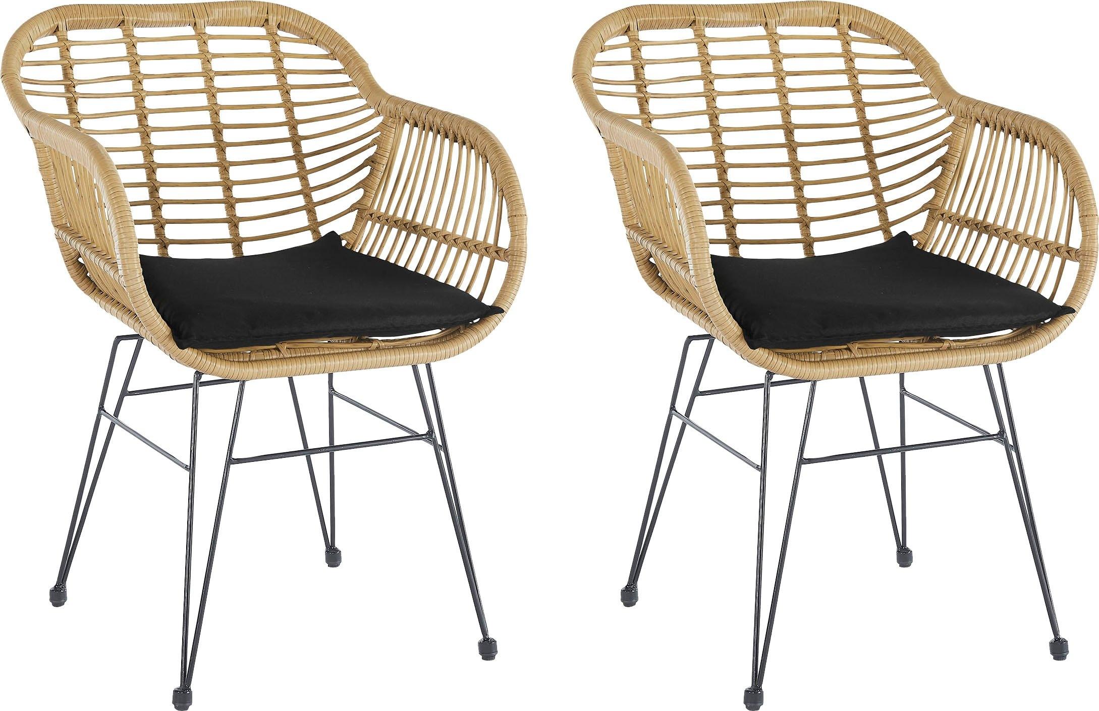 Homexperts eetkamerstoel YLVI Kuipzitting van kunststof in rotan-look met zitkussen in bekleding (set, 2 stuks) in de webshop van OTTO kopen