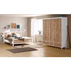 home affaire slaapkamerset »kjell«, 4-delig: ledikant, twee nachtkastjes en een garderobekast wit