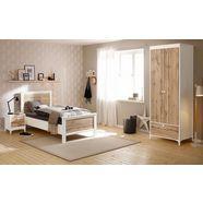home affaire slaapkamerset »kjell«, 3-delig: ledikant, nachtkastje en garderobekast (2-deurs) wit