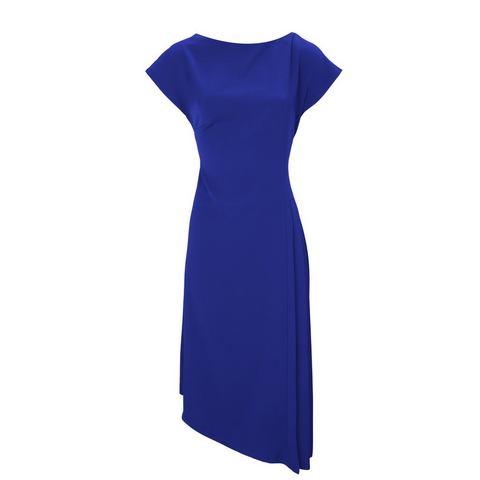 jurk met ronde hals blauw