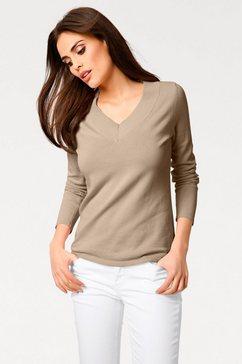 pullover met v-hals beige
