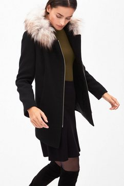 Wollen mantel met imitatiebont