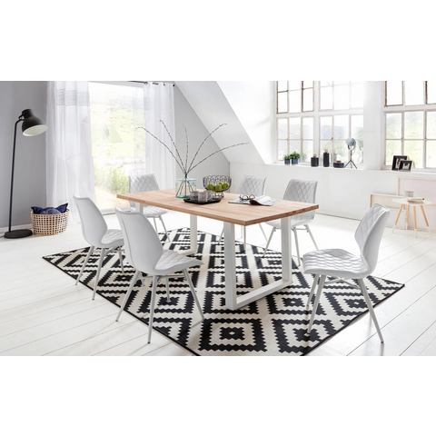 Home affaire eettafel Palm Beach, tafelblad van massief beukenkernhout met wit metalen frame