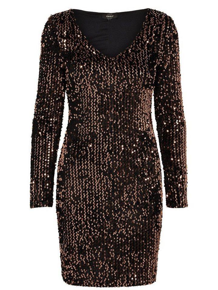 ONLY pailletten jurk met lange mouwen zwart