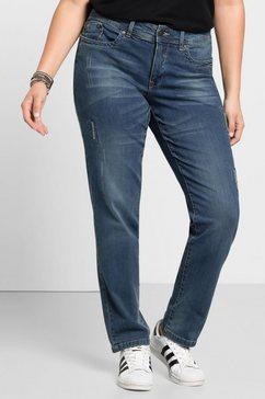 sheego stretch jeans met used en destroyed effecten blauw