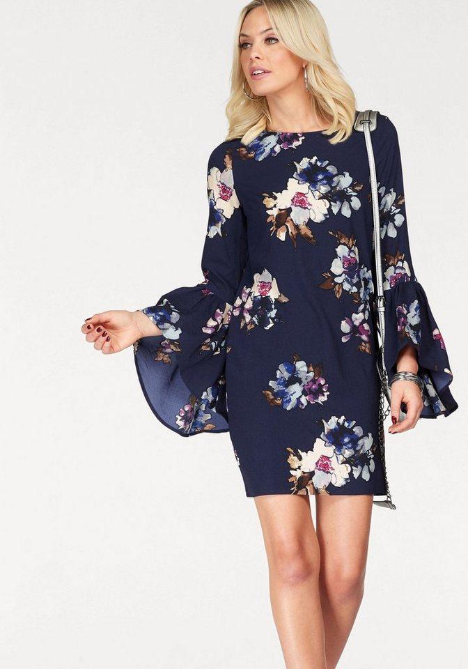 Vero Moda gedessineerde jurk BALI FLOUNCE blauw