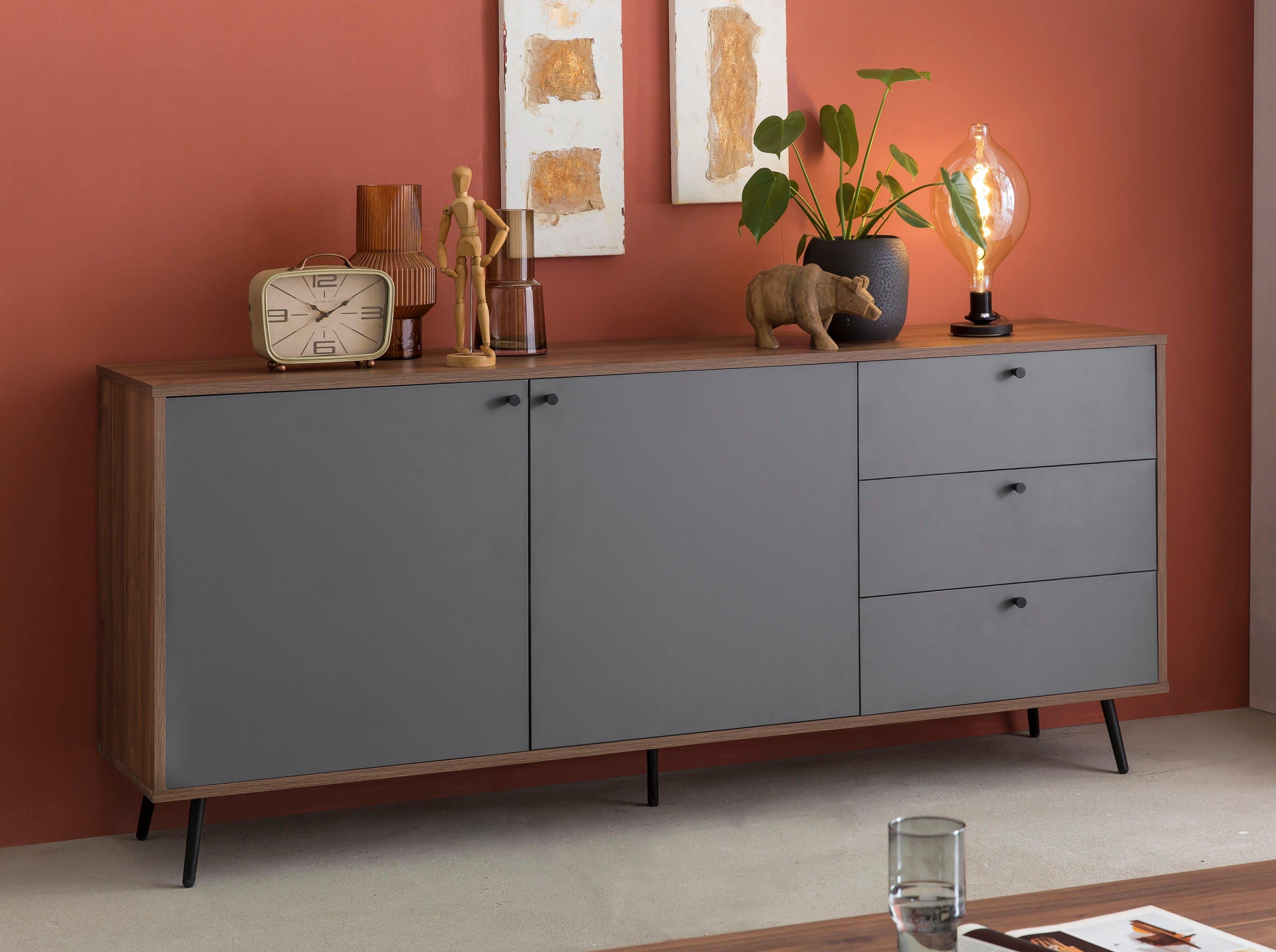 SalesFever dressoir in moderne kleurencombinatie van walnoot en grijs voordelig en veilig online kopen