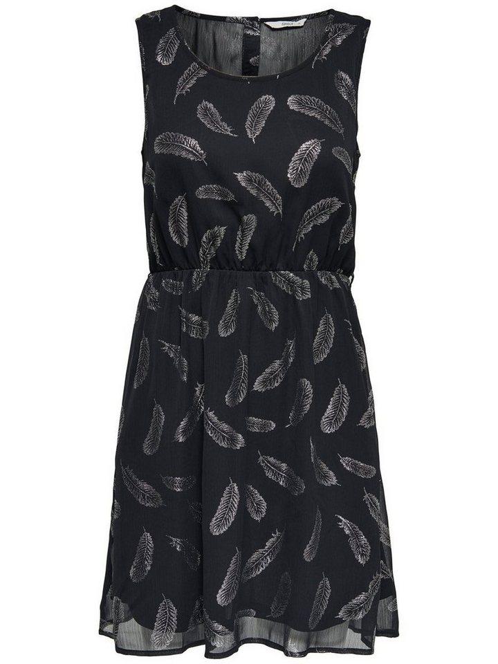NU 21% KORTING: ONLY Bedrukte Mouwloze jurk zwart