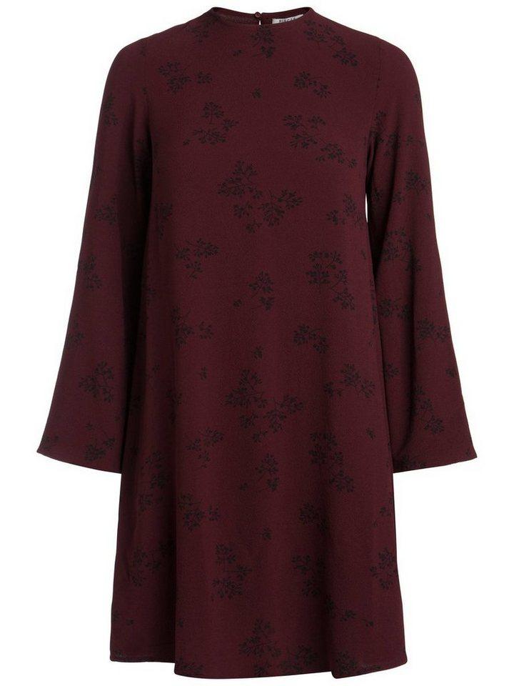 Pieces Bedrukte lange mouw jurk rood