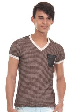 r-neal t-shirt met v-hals slim fit bruin