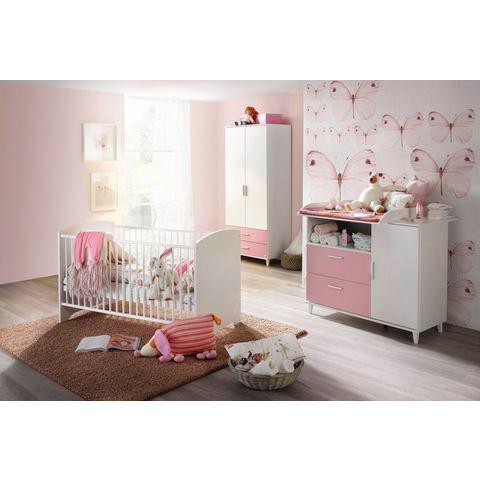 Complete kinderkamer Nizza ledikantje + commode + 2-deurs garderobekast, in roze/alpinewit