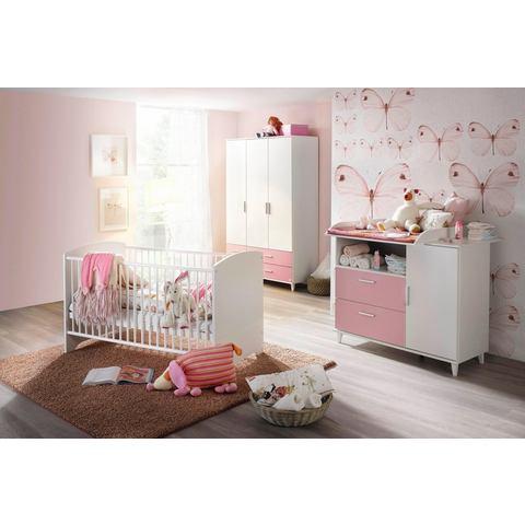 Complete kinderkamer Nizza ledikantje + commode + grote garderobekast, in roze-alpinewit