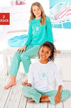 petite fleur pyjama in een lang model met sterretjesprint (2-delig, set van 2) multicolor