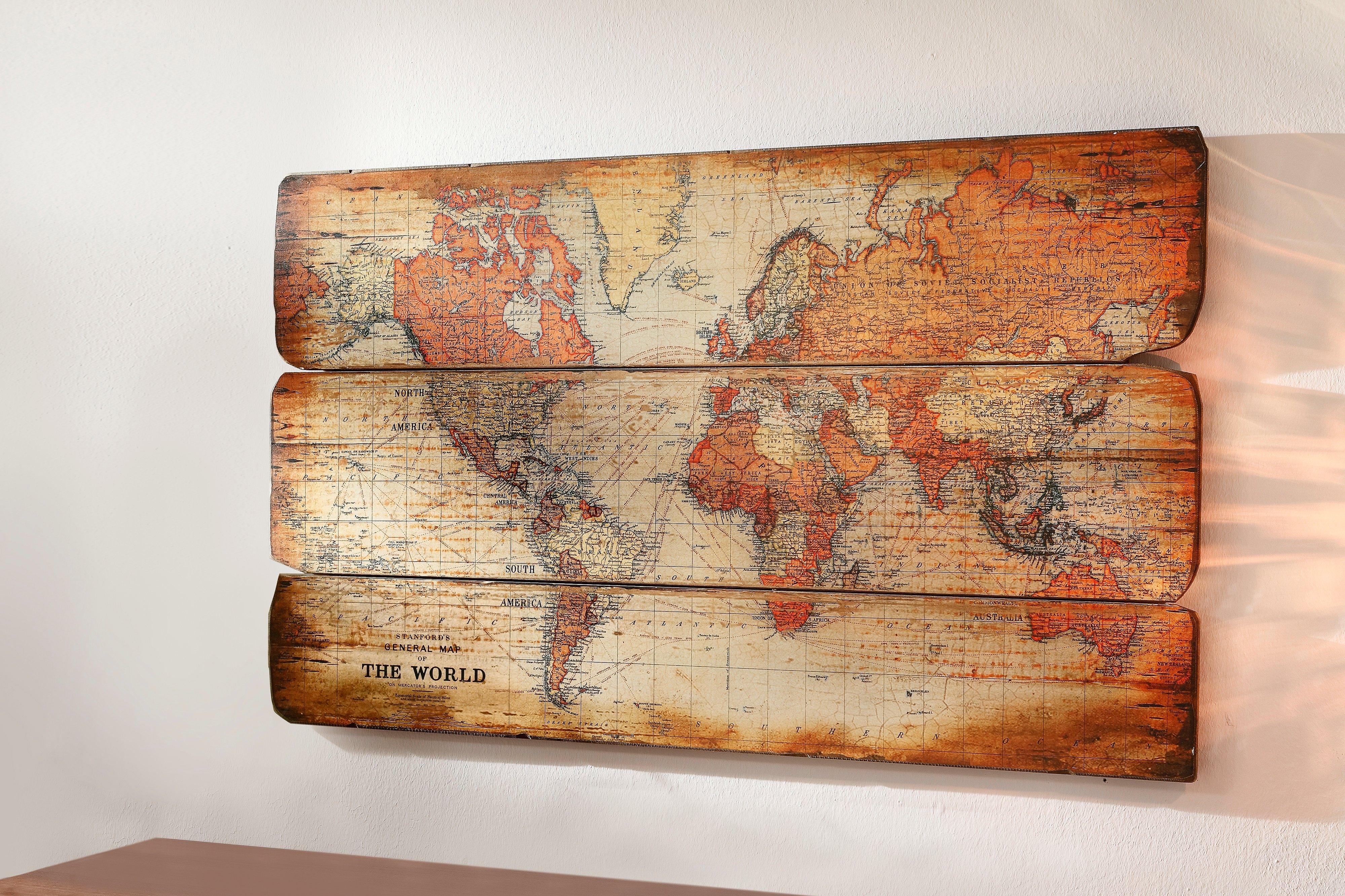 wanddecoratie wereldkaart snel online gekocht otto