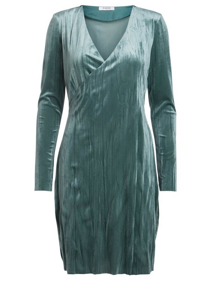 Pieces Longsleeve velours jurk grijs
