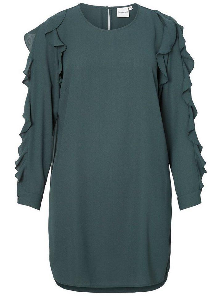 Junarose Ruche jurk met lange mouwen groen