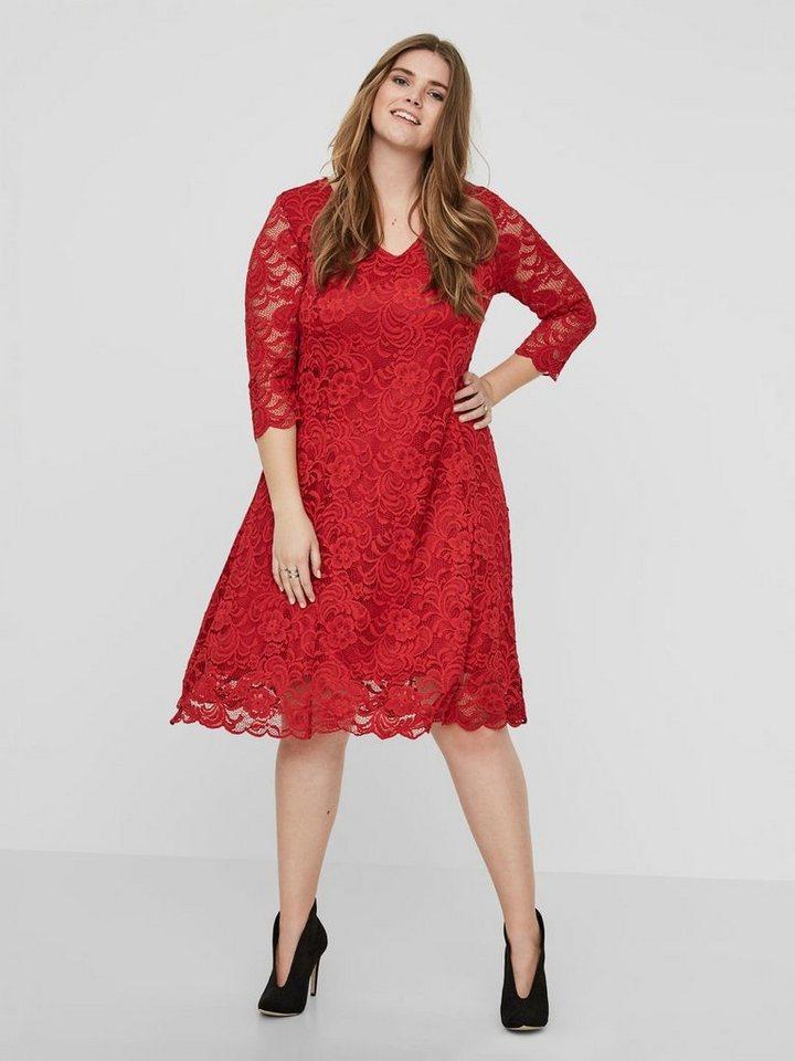 Junarose kanten jurk rood