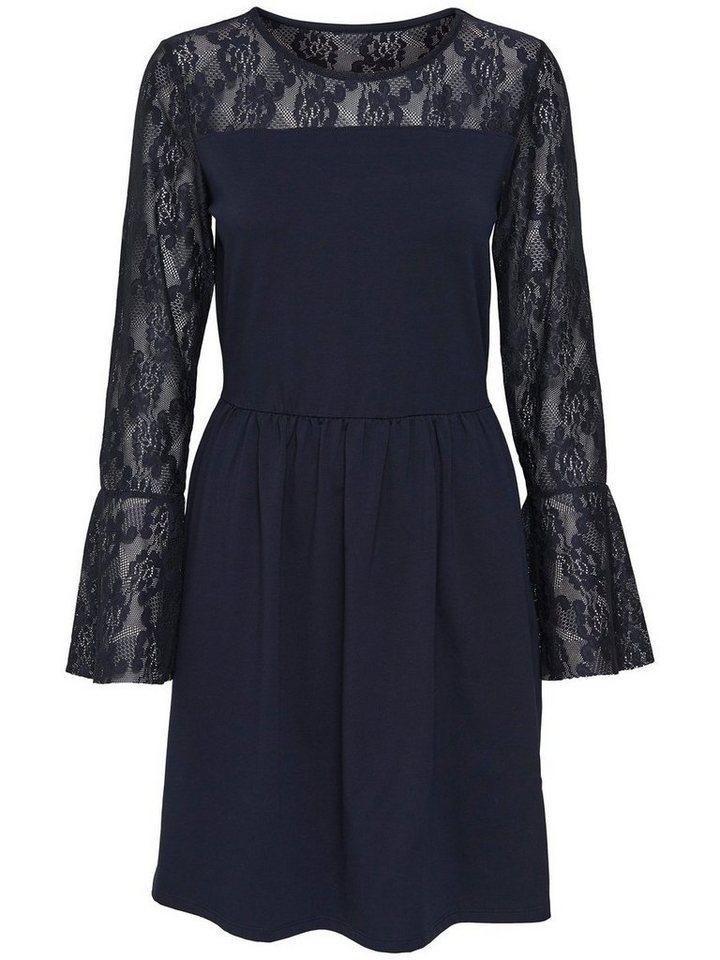 ONLY kanten jurk met lange mouwen grijs
