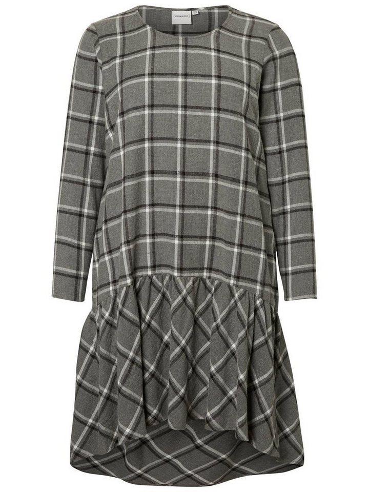 Junarose Geruite jurk grijs