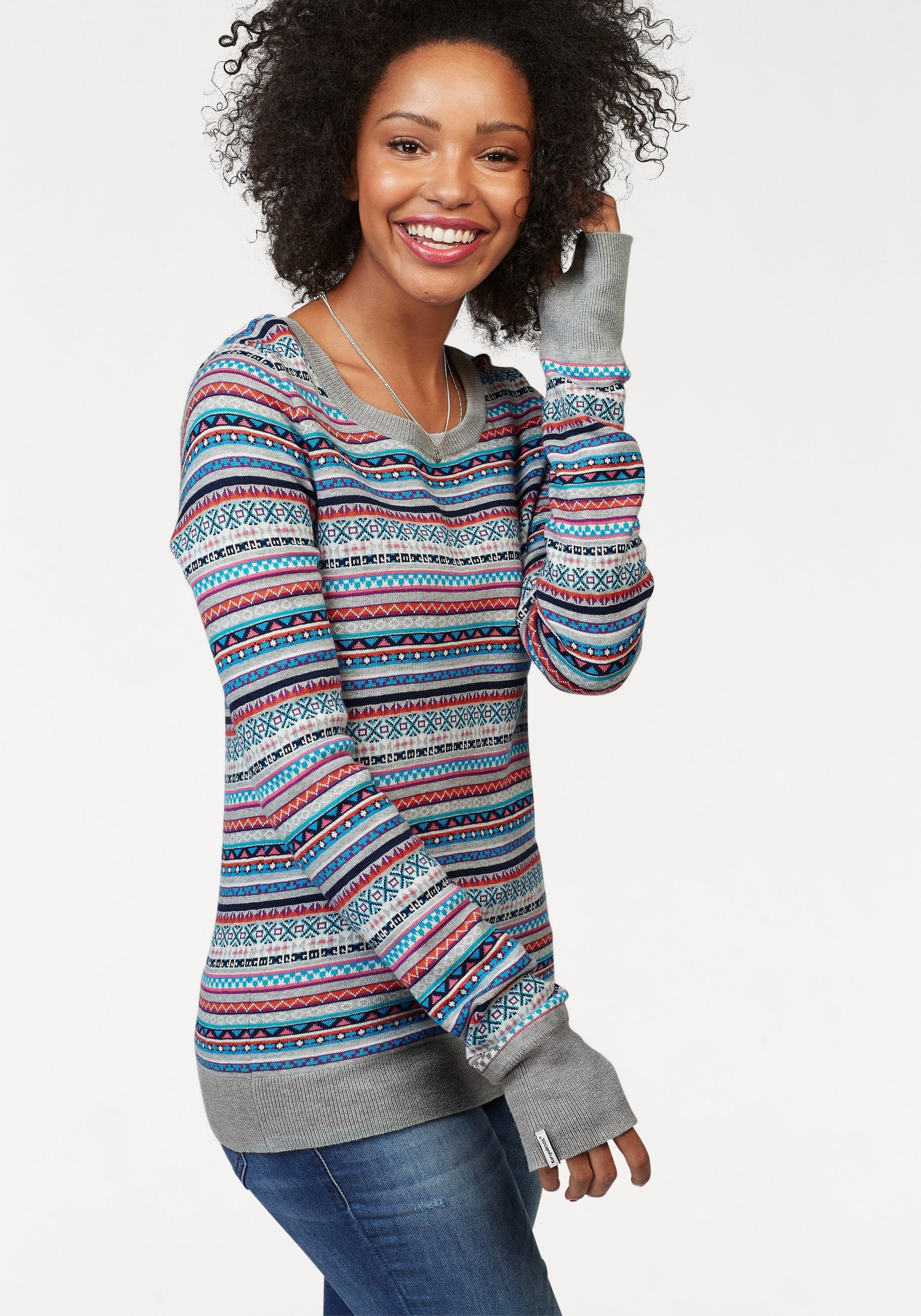 Op zoek naar een KangaROOS trui met ronde hals multicolour gedessineerd jacquard-fijntricot? Koop online bij OTTO