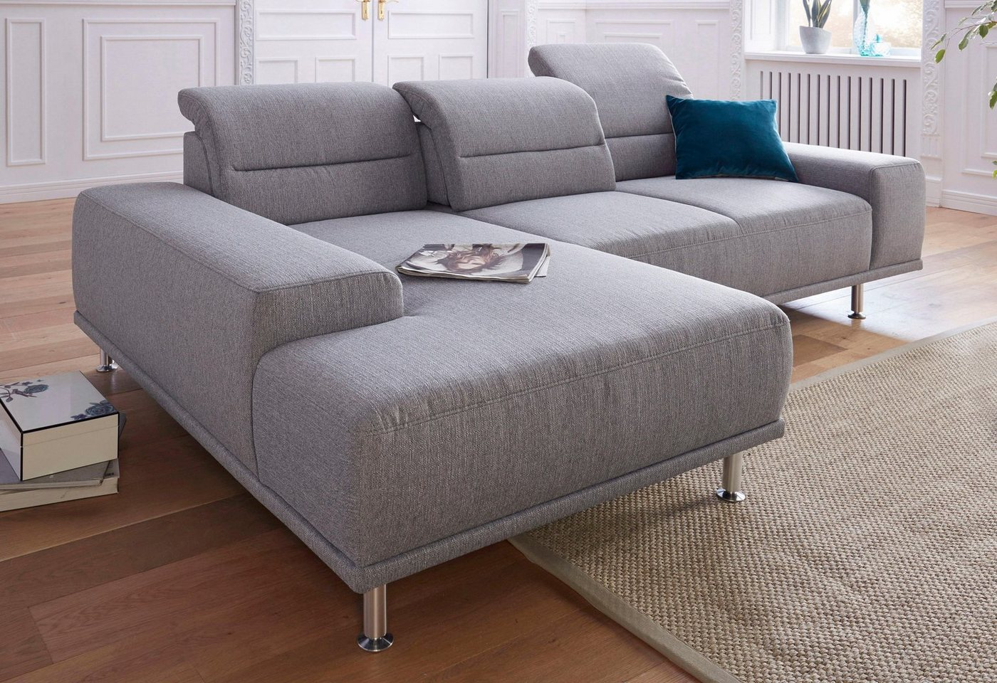 Sit & More hoekbank met recamier en binnenvering, inclusief zitdiepteverstelling
