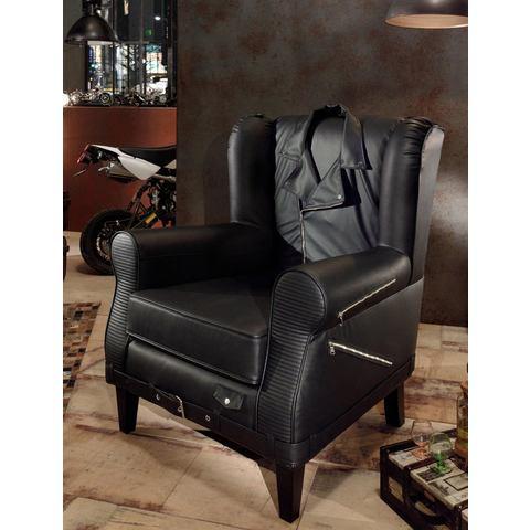 Inosign fauteuil Bono in buitengewone stijl met ritssluitingen en jack-rug