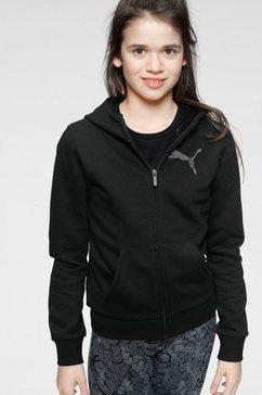 puma capuchonsweatvest »full-zip hoodie fleece girls« zwart