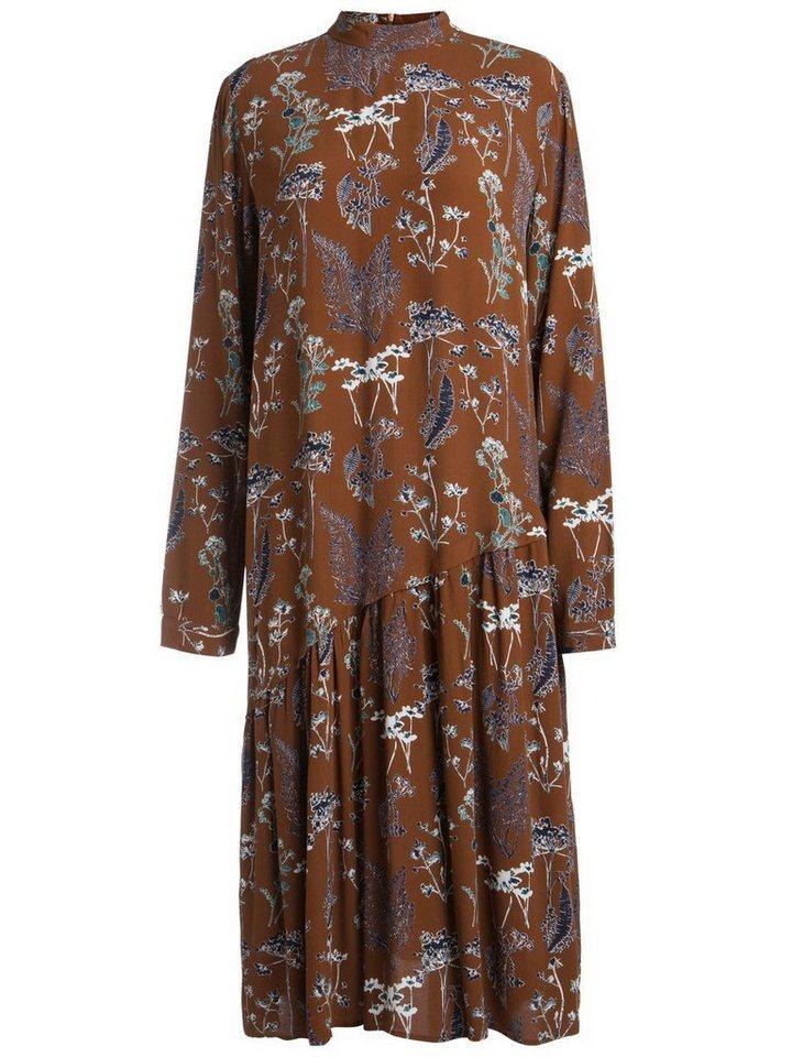 Pieces Bedrukte longsleeve jurk bruin