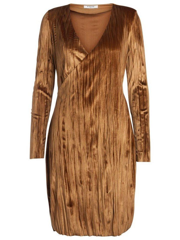 Pieces Longsleeve velours jurk bruin