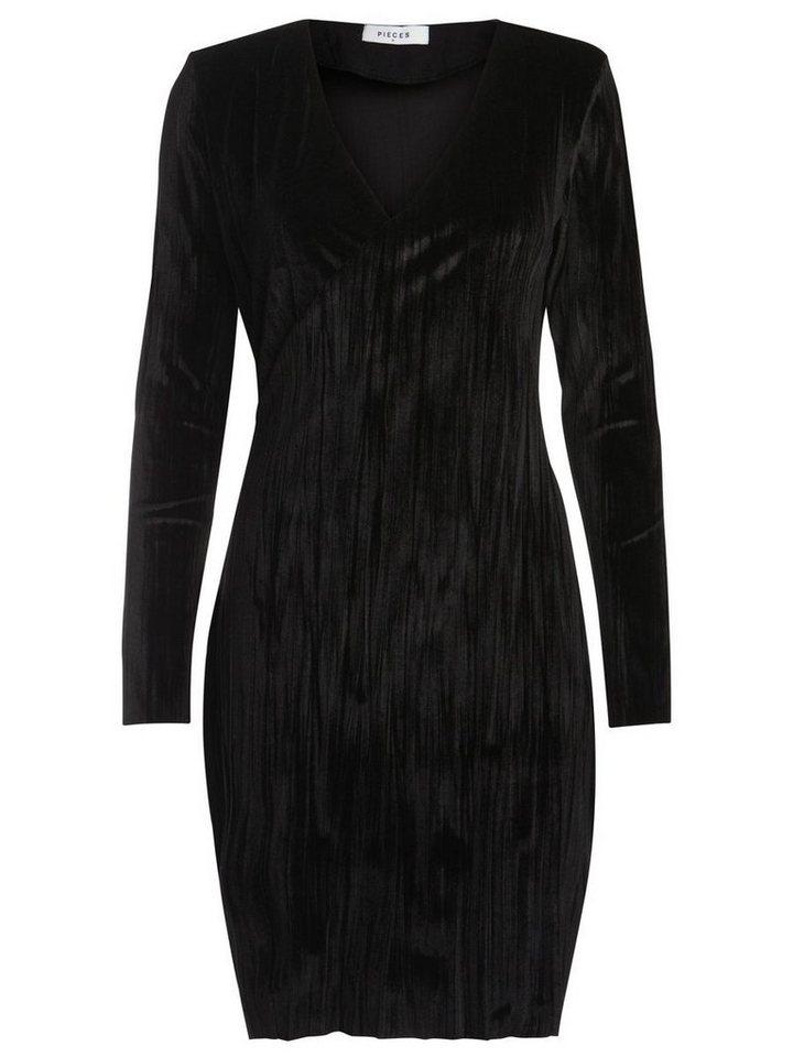 NU 21% KORTING: Pieces Longsleeve velours jurk zwart