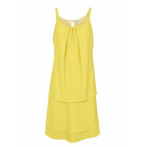 jurk met ronde hals geel