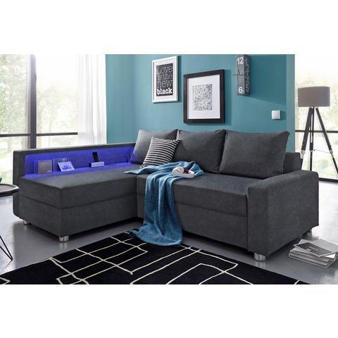 Collection AB hoekbank met slaapfunctie, naar keuze met RGB-ledverlichting en USB-poort
