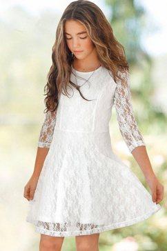 arizona jurk met mouwen van elastische kant beige