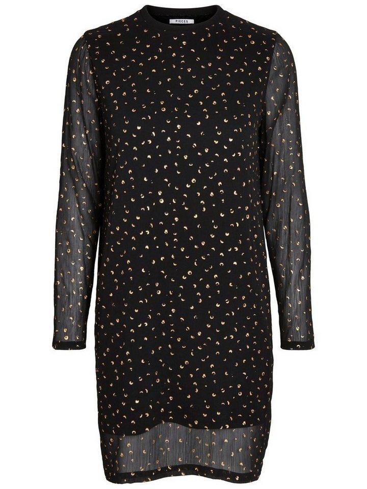 Pieces Bedrukte jurk zwart