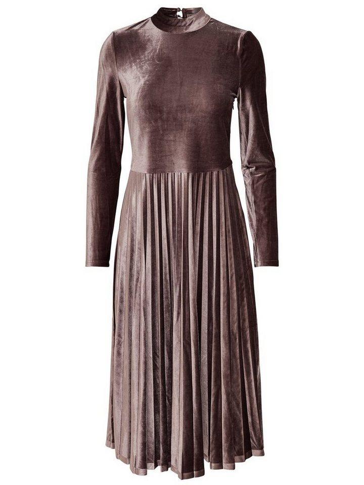 ONLY Fluwelen Midi jurk bruin