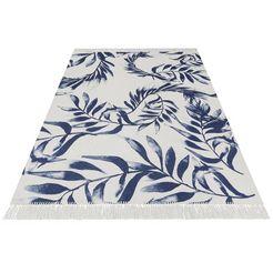 outdoorkleed, »blue leaves«, rechthoekig, hoogte 3 mm, print blauw