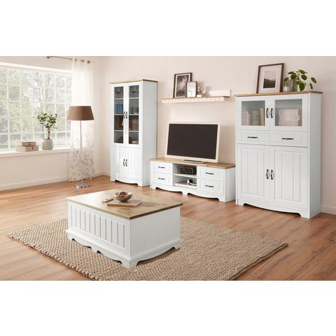 Home affaire 4-delig wandmeubel Trinidad: 1 vitrinekast, 1 tv-meubel, 1 highboard, 1 wandplank