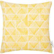 tom tailor kussenovertrek squared triangle met unikleurige achterzijde in linnen-look (1 stuk) geel