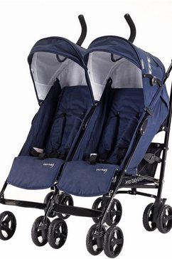 knorr-baby dubbele buggy, »side by side, navy blue« blauw