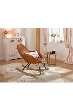 home affaire schommelstoel tampa stalen poten met houten glijders, moderne look, romp zacht verdikt bruin