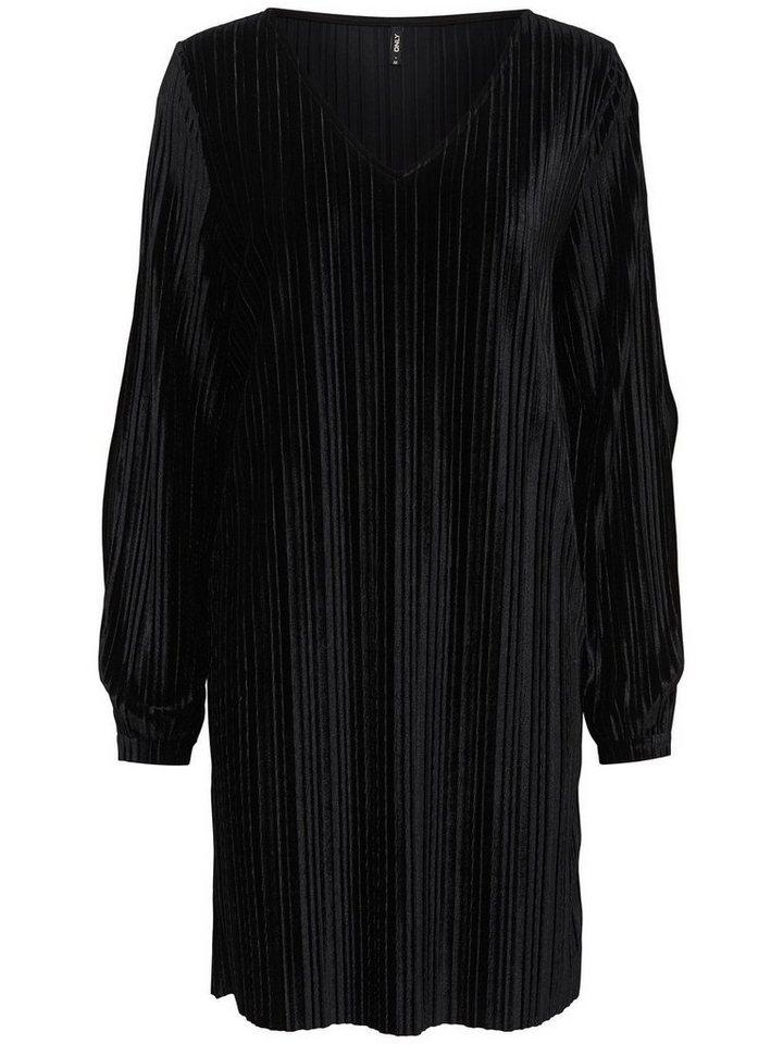 ONLY Plooi jurk met lange mouwen zwart
