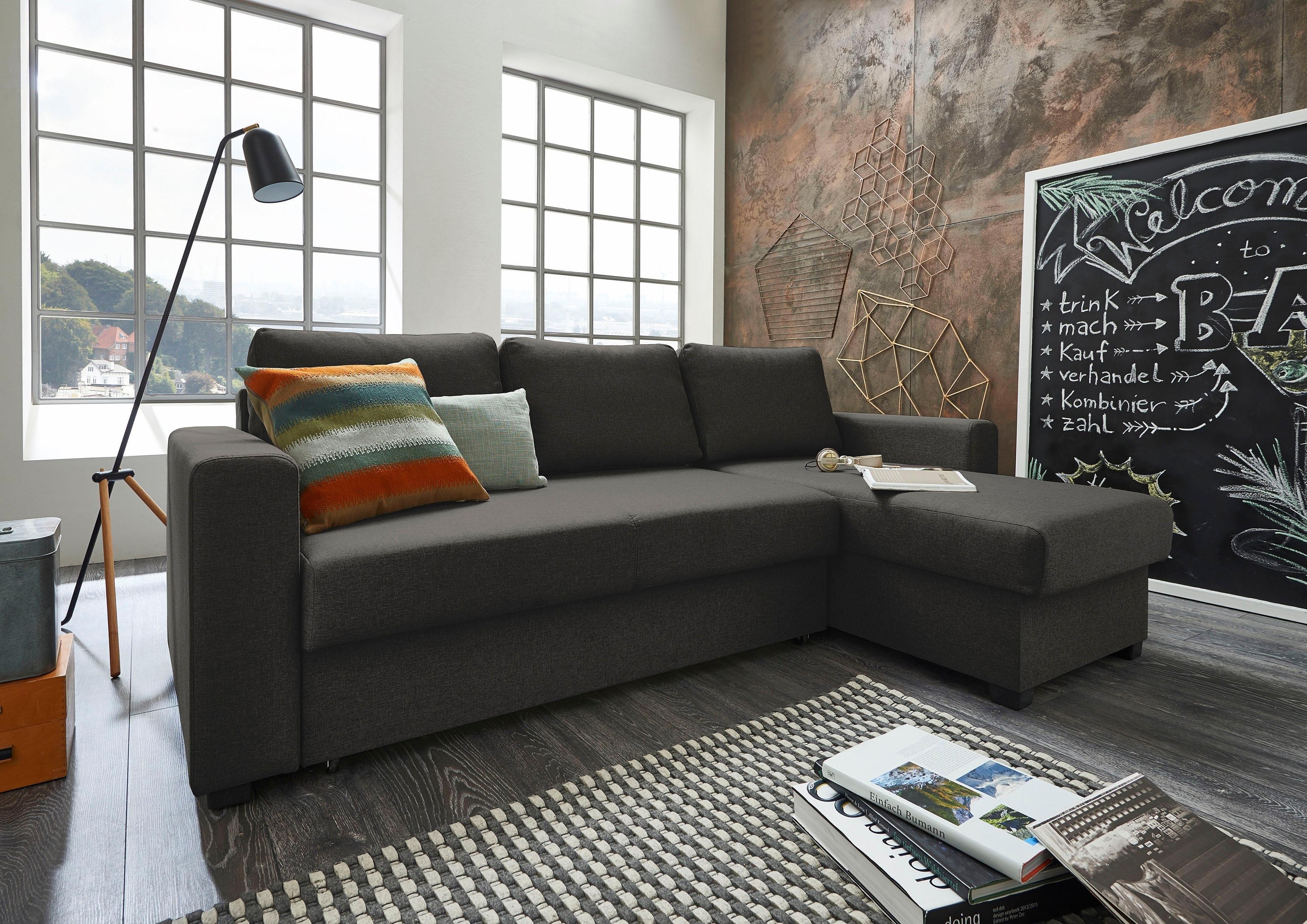 ATLANTIC home collection Hoekbank met slaapfunctie en bedkist, récamier links of rechts te monteren, met binnenvering - verschillende betaalmethodes