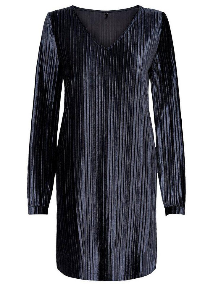 ONLY Plooi jurk met lange mouwen blauw